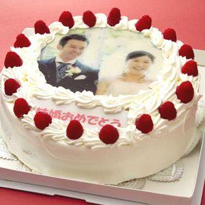 写真ケーキ(丸) 8号 生クリーム【冷凍 到着後は冷蔵庫で4~5時間保管解凍】
