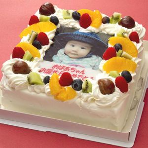 写真ケーキ(四角) 6号 生クリーム【冷凍 到着後は冷蔵庫で3~4時間保管解凍】