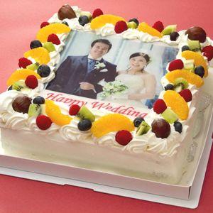 写真ケーキ(四角) 8号 生クリーム【冷凍 到着後は冷蔵庫で4~5時間保管解凍】