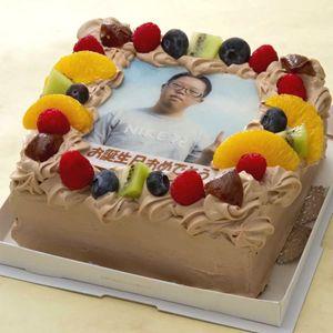 写真ケーキ(四角) 生チョコ 5号【冷凍 到着後は冷蔵庫で3~4時間保管解凍】