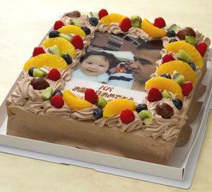 写真ケーキ(四角) 生チョコ 8号【冷凍 到着後は冷蔵庫で4~5時間保管解凍】