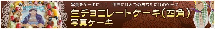 生チョコレートケーキ(四角)写真ケーキ